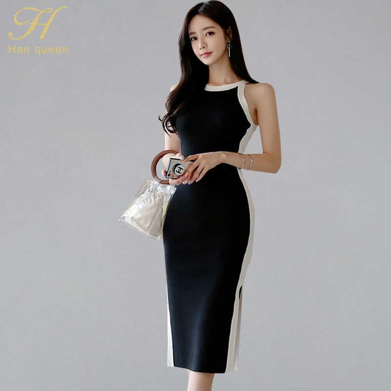 H Han Queen noir blanc contraste couleur tricoté moulante robe sans manches bretelles Stretch robes d'été femmes crayon Vestidos