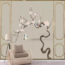 Chinese style hand-painted flowers and birds golden border line background professional production mural photo wallpaper
