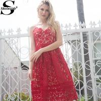Sheinside Ladies Hollow Out Fit Flare Lace Cami Dress Plain Spaghetti Strap Sleeveless V Neck Midi