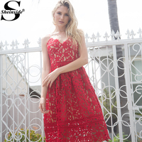 Sheinside Ladies Hollow Out Fit & Flare Lace Cami Party Dress Backless Plain Spaghetti Strap Sleeveless V Neck Midi A Line Dress