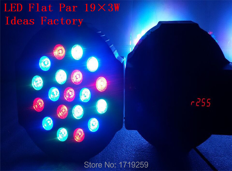 ФОТО 2016 19x 3W RGB DMX Stage Lights Business Lights Led Flat Par High Power Light with Professional for Party KTV Disco DJ EU
