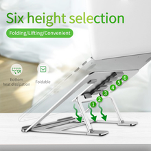 Aluminum Laptop Stand Tablet Stand Universal for Apple MacBook Air Pro 11-15 inches Folding Adjustable Office Notebook Silver universal folding portable laptop stand aluminum cooling adjustable desk stand pc tablet holder for macbook air pro