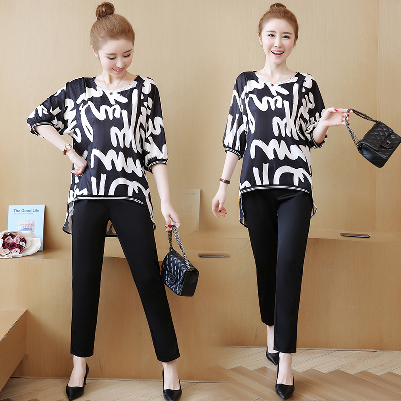 Plus Size Summer Printed Two Piece Sets Women Half Sleeve Blouse And Pants Suits Casual Elegant Office Ladies Women's Sets Femme 30