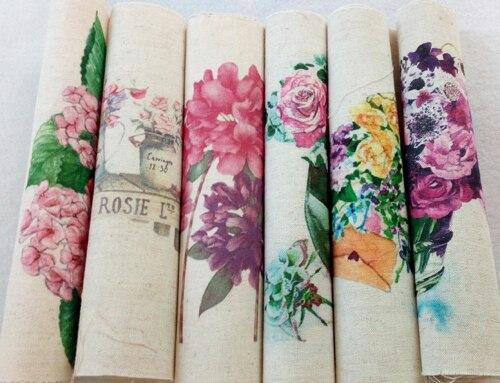 Impresión digital surtidos hermosas flores de tela de algodón de lino para diy d