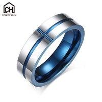 Persönlichkeit Blau Kreuz Runde Ringe für Männer Hartmetall Ring Männlichen Schmuck Mode-accessoires Geschenke für Mann Bague Bijoux