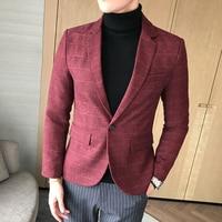 CCXO Marchio di Moda Uomini Casual Blazer Abiti Giacca Slim Fit shirt matrimonio Sposo Plaid Rosso Blu Maschio Smoking Prom Partito Uomini Blazers