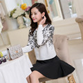Korean (real shot) new female printed loose long-sleeved piece fitted