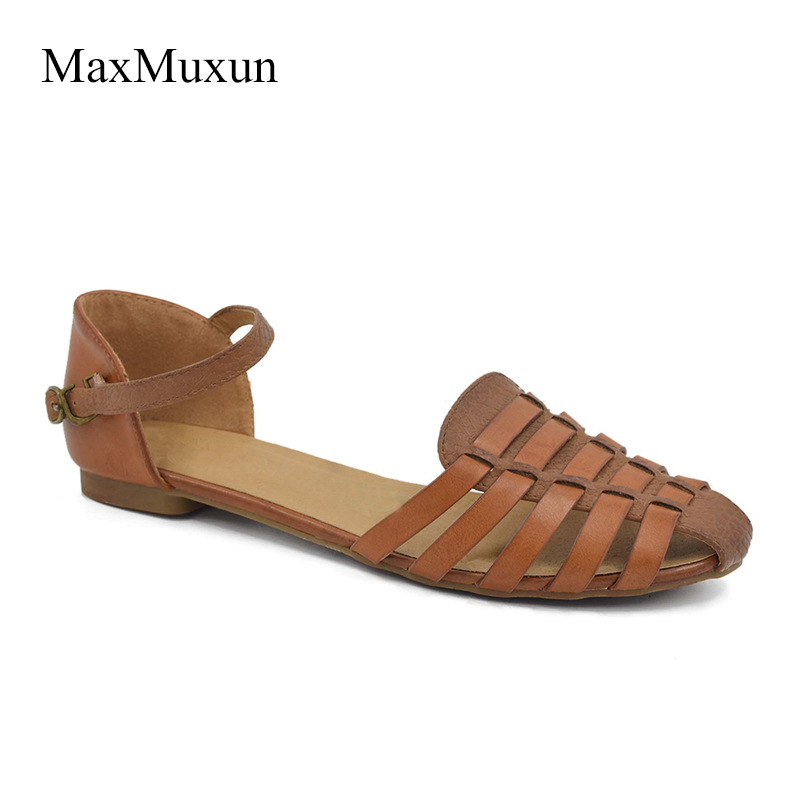 Wanita MaxMuxun Slingback Sandal Flat Summer Rome Ankle Strap Closed Toe Strappy Gladiator Beach Dress Sandals For Girls Shoes