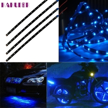 New Colorful Blue 4pcs 30CM/15 LED Car  Truck Flexible Strip Light Waterproof 12V SEP 10