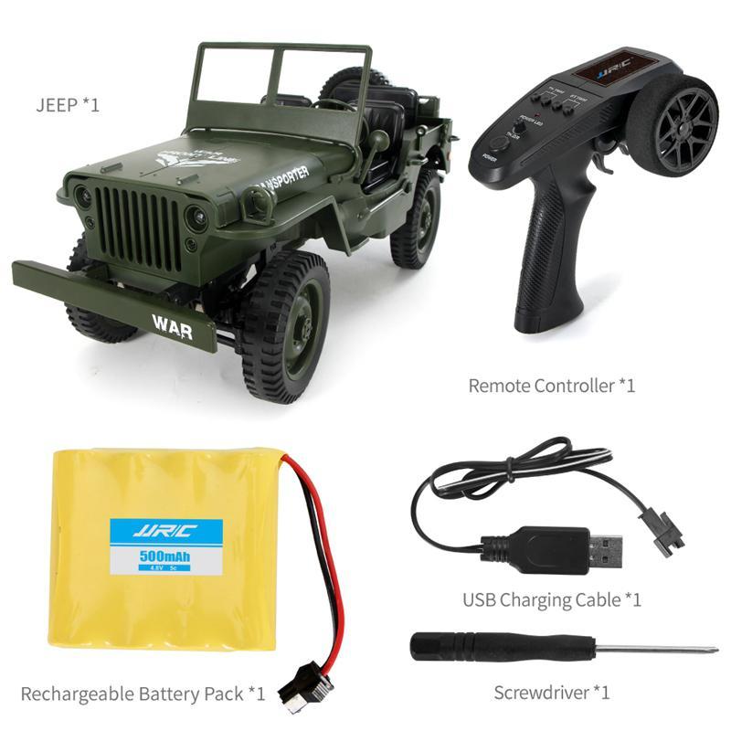 Oyuncaklar ve Hobi Ürünleri'ten RC Arabalar'de 1:10 Klasik RC Askeri Jeep 2.4G 4WD Uzaktan Kumanda Off road Ordu Araba Taşıyıcı 6 Araç Modeli oyuncak arabalar ile Ön LED title=