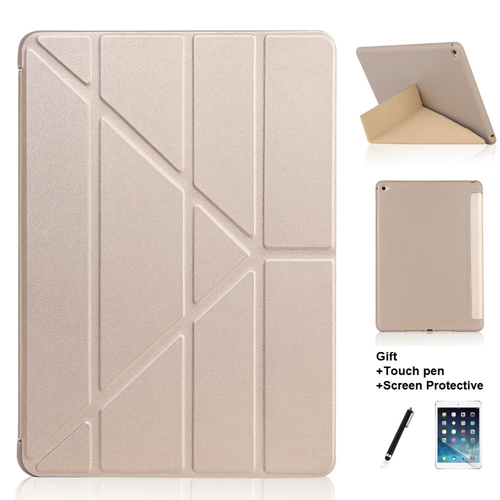 Opaque Soft Material Multi Fold Sleep Wake Up Holder Protective Cover Case for iPad Air 1