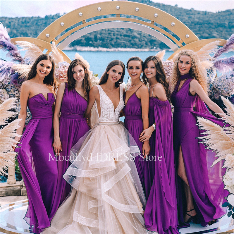 5 Style Chiffon   Bridesmaid     Dresses   Long 2019 A Line Wedding Guest   Dress   Off Shoulder Cheap Plus Size Country Maid of Honor Gowns