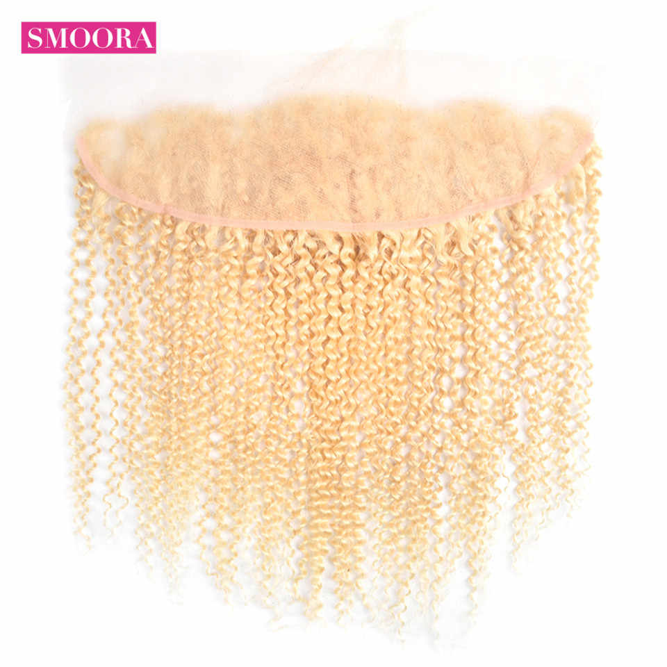 613 Blonde Mongolian Kinky Curly Hair Bundles with Frontal 3 Pieces Human Hair with Closure 13*4 Inch Smoora Non Remy Hair