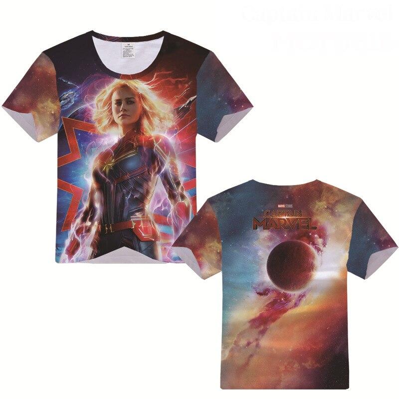 Superhero Captain Marvel T-shirt Cosplay Costume Carol Danvers Men Women Summer Fashion Casual T Shirt Short Sleeve Tees