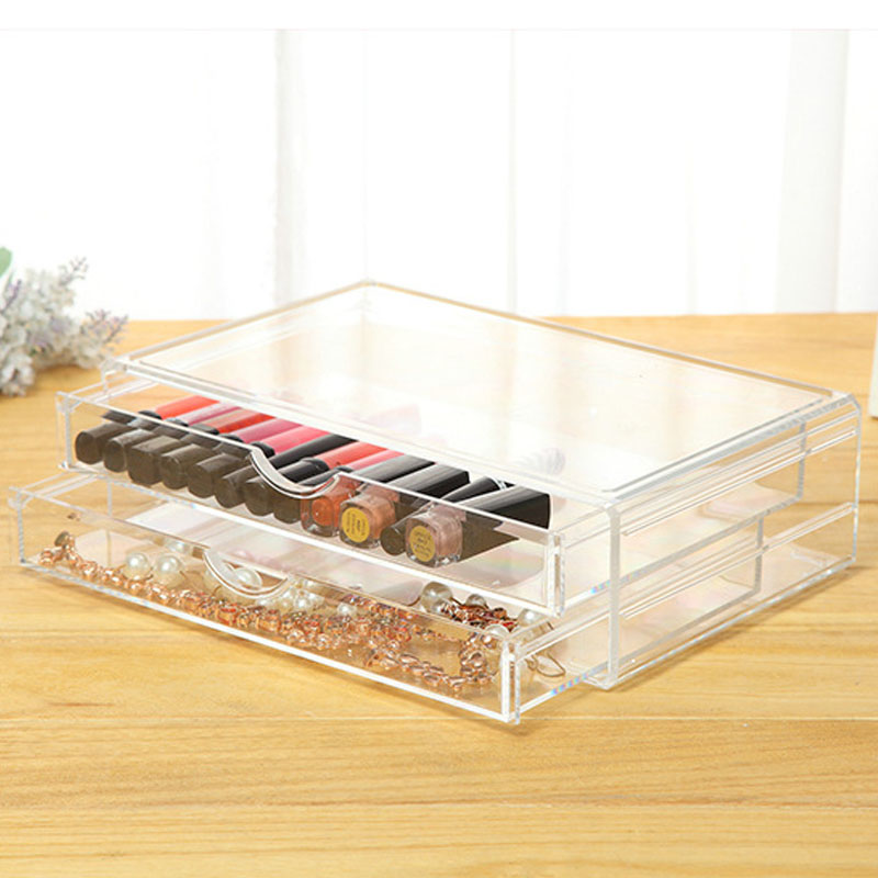 Clear Plastic Cosmetic Organizer Acrylic Drawer Jewelry Make Up Organizer Holder Makeup Tools Nail Polish Box