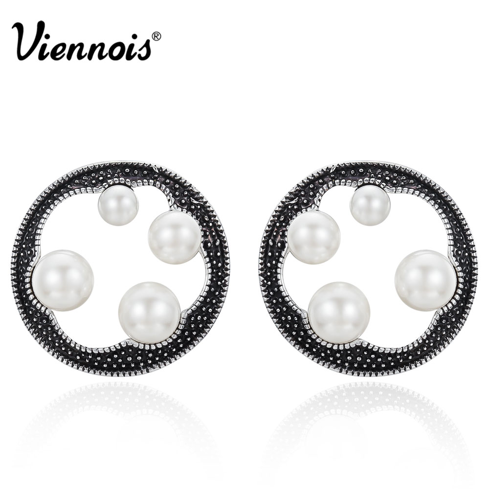 Viennois Silver Color Retro Stud Earrings for Women Simulated Pearl Round Earrings Hollow Out Vintage Earrings Female Jewelry a suit of chic fake pearl rhinestone hollow out flower necklace and earrings for women