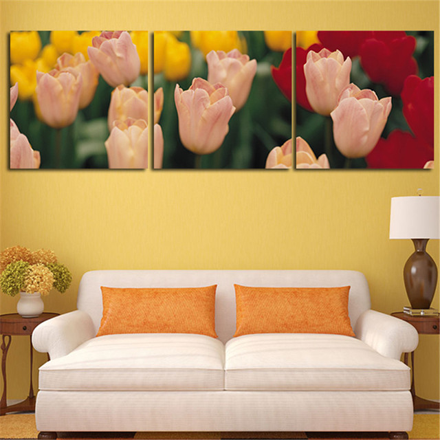 2017 3 Peice Wall Painting Home Decoration Art Pictures Tulip Flower ...