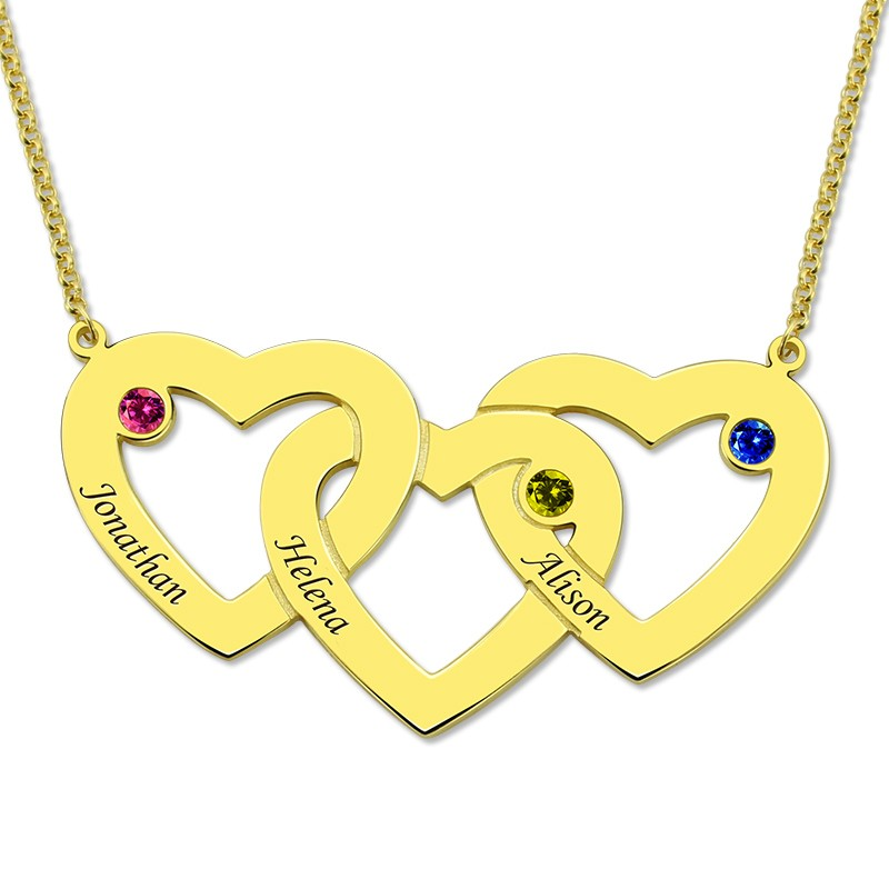 Custom Name Letter Necklace Women Gold Three Intertwined Hearts Birthstones Necklaces 3 Love Heart Pendants Chain