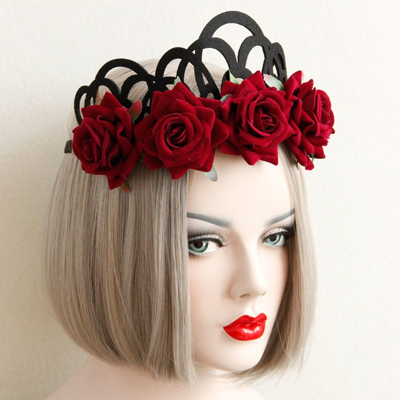 1 PCS Women Nice Red Rose Girl Hairbands Queen Crown Tiara Headwreath Gothic Punk Headbands Woman Party Hair Accessories