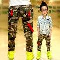 Новый 2016 осень подростков джинсы для мальчика камуфляж мальчиков брюки дизайнер детские жан детские эластичный пояс джинсовой длинные брюки