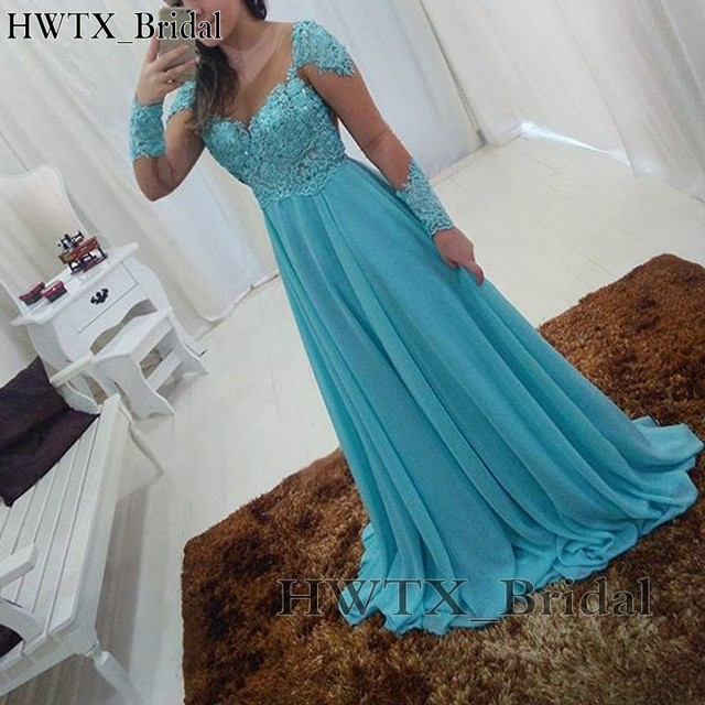 021a252245d Elegant Light Blue Chiffon Mother Of The Bride Dresses Long Sleeve Sheer  Jewel Neck Vintage Lace 2018 A Line Prom Formal Gowns