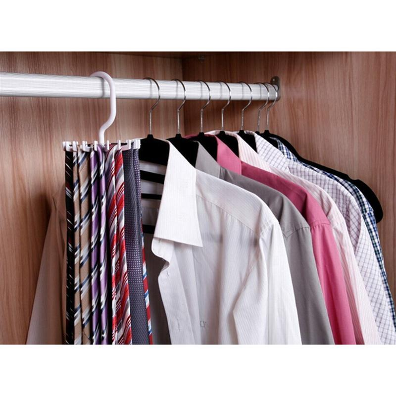 Ounona 360 Degrees White Rotating Tie Rack Organizer Hanger Closet Storage Scarf Holds 20 Neck Ties In Hangers Racks From Home