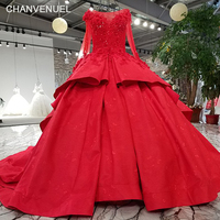 LS21475 2018 new bridal dress red color long sleeves bateau boat neck corse back puffy skirt without petticoat wedding gown