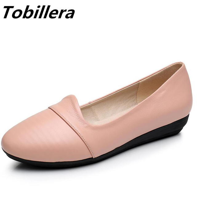 dfbdffc85d Tobillera Women Big Size Flats Genuine Leather Round Toe Newest Simple  Casual Style Pink White Black Spring Autumn Flat Shoes