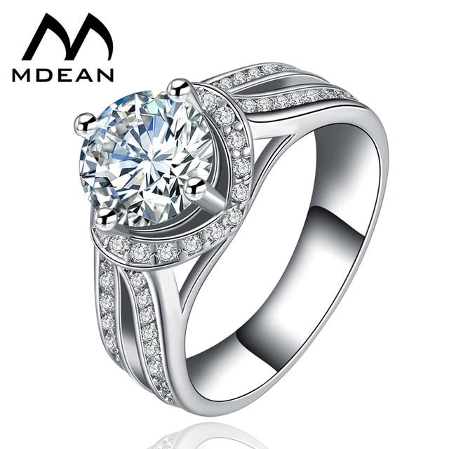 Extrêmement MDEAN Blanc Or Couleur De Luxe Bijoux En Cristal Bague Femme  HQ78