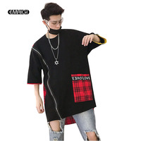 Men Women High Street Fashion Hip Hop Casual Loose T Shirt Male Striped Splice Short Sleeve