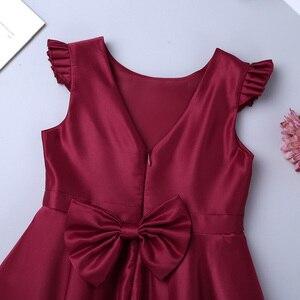 Image 5 - Vestido chique de cetim para meninas, vestido com mangas esvoaçantes laço floral para meninas casamentos vestido de princesa festa de aniversário