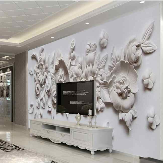 Custom Photo Wallpaper European Style 3D Stereoscopic Relief Flower Wall  Mural Paper Living Room Bedroom Bedside Wall Painting