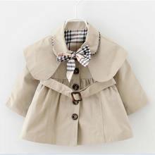 2017 Girls Clothing Children's Lapel Coat Baby Girls England style clothing windbreaker Kids Costume Dust coat