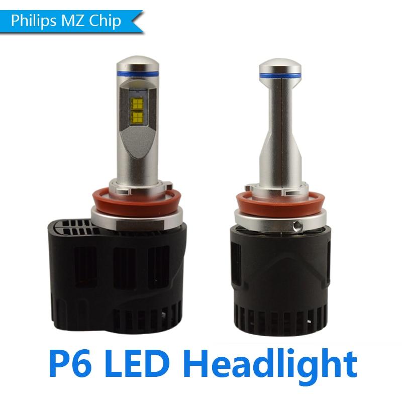 2pcs H11 H8 H9 50W 10400LM Philips MZ Chip LED Car P6 Headlight Conversion Kit Fog Lamp Bulb DRL Super White 50w universal car truck 9004 led headlight conversion kit lamp h l 1800lm