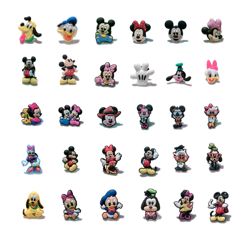 Mickey Minnie PVC Shoe Charms Shoe Accessories Shoe Buckle For Wristbands Croc Kids Gift