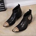 Moda Cuero Genuino de Los Hombres Formales de Los Hombres Italianos Zapatos de Vestir Punta estrecha Botines de Invierno de Los Hombres de Vaquero Botas Más El Tamaño