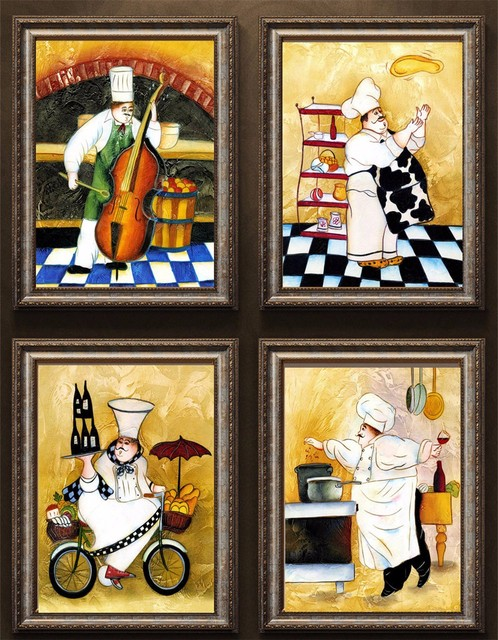 4 Piece Kanvas Lukisan Kuno Selamat Chef Dapur Kompor Dekorasi Rumah Gambar Dinding Untuk Ruang Tamu