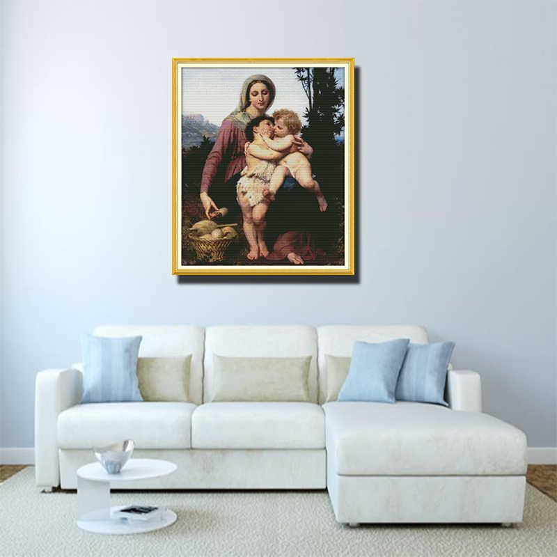 11ct 14ct claro ponto cruz kit virgem e criança salvador jesus e pequeno anjo bonito personagem tecido pintura pano