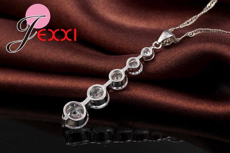 יוקרה AAA מעוקב Zirconia ארוך ציצית טיפת שרשרת עגילי סט 925 סטרלינג כסף עבור נשים כלה חתונה תכשיטי סטים