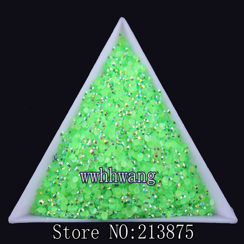 10000 unids / bolsa, SS6 hierba verde color mágico AB gelatina 2mm - Artes, artesanía y costura