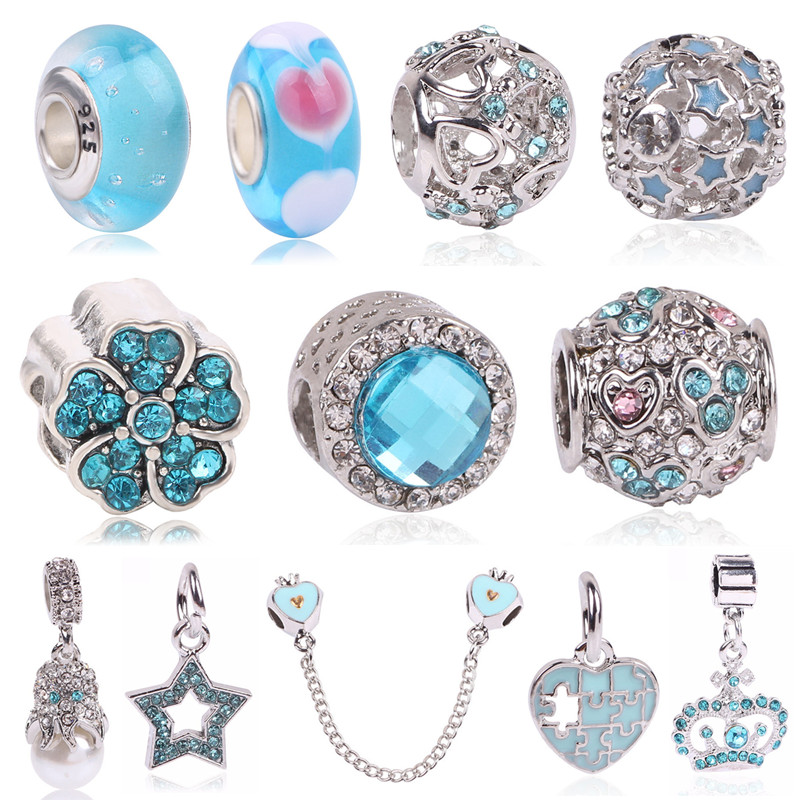 Couqcy Silver Color Beads Star & Moon Charm With Blue Sky Fits Original Pandora Charm Bracelets DIY Jewelry Women Wholesale