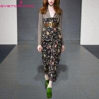 Для женщин цветочный принт лоскутное Винтаж опоясанный V шеи короткий шерстяной Блейзер Топ + длинные штаны комплект из двух предметов весн