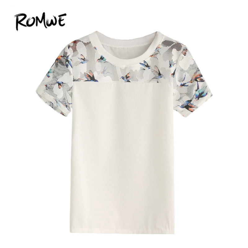 6dbb2fae2a0366 ROMWE White Bird Print Mesh Insert Top Women Summer Casual Blouses and Tops  Round Neck Short Sleeve Slim Blouse-in Blouses & Shirts from Women's  Clothing on ...