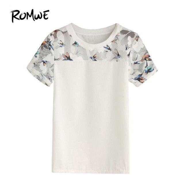 5cbe0095dd246e ROMWE White Bird Print Mesh Insert Top Women Summer Casual Blouses and Tops  Round Neck Short Sleeve Slim Blouse
