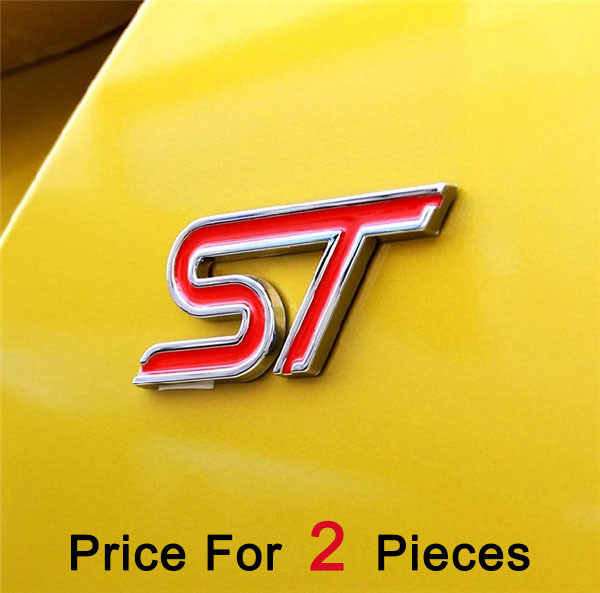 2pcs/lot automobile accessories car body styling stickers with red black blue ST logo badge emblem