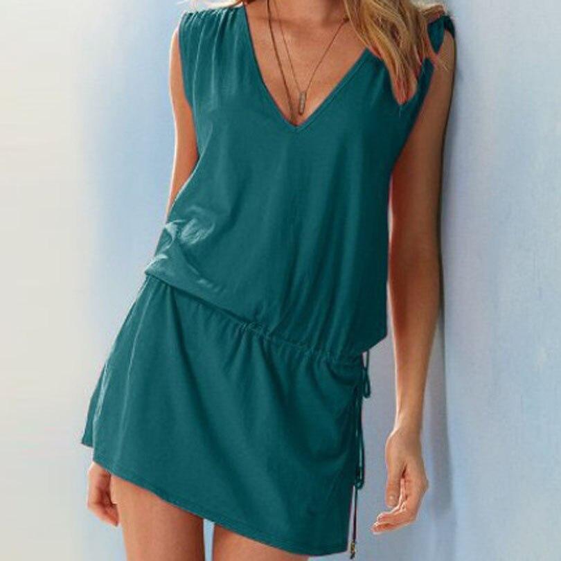 Green Women Sundress Casual Summer Beach Dress Sexy V Neck Backless Tight Waist Short Dress