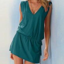 1b0084c99f5 Green Women Sundress Casual Summer Beach Dress Sexy V Neck Backless Tight  Waist Short Dress Boho Sleeveless Loose Dresses White