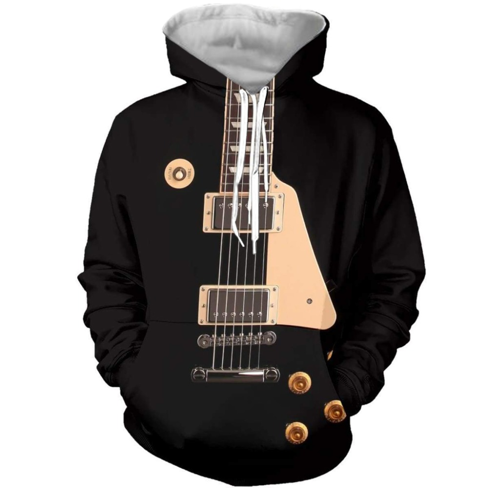 Hot Sell Rock Style 3D Sweatshirts Men/Women Hooded Guitar Print Pullover Harajuku Casual Streetweaer Thin Loose Hoodies HD0005