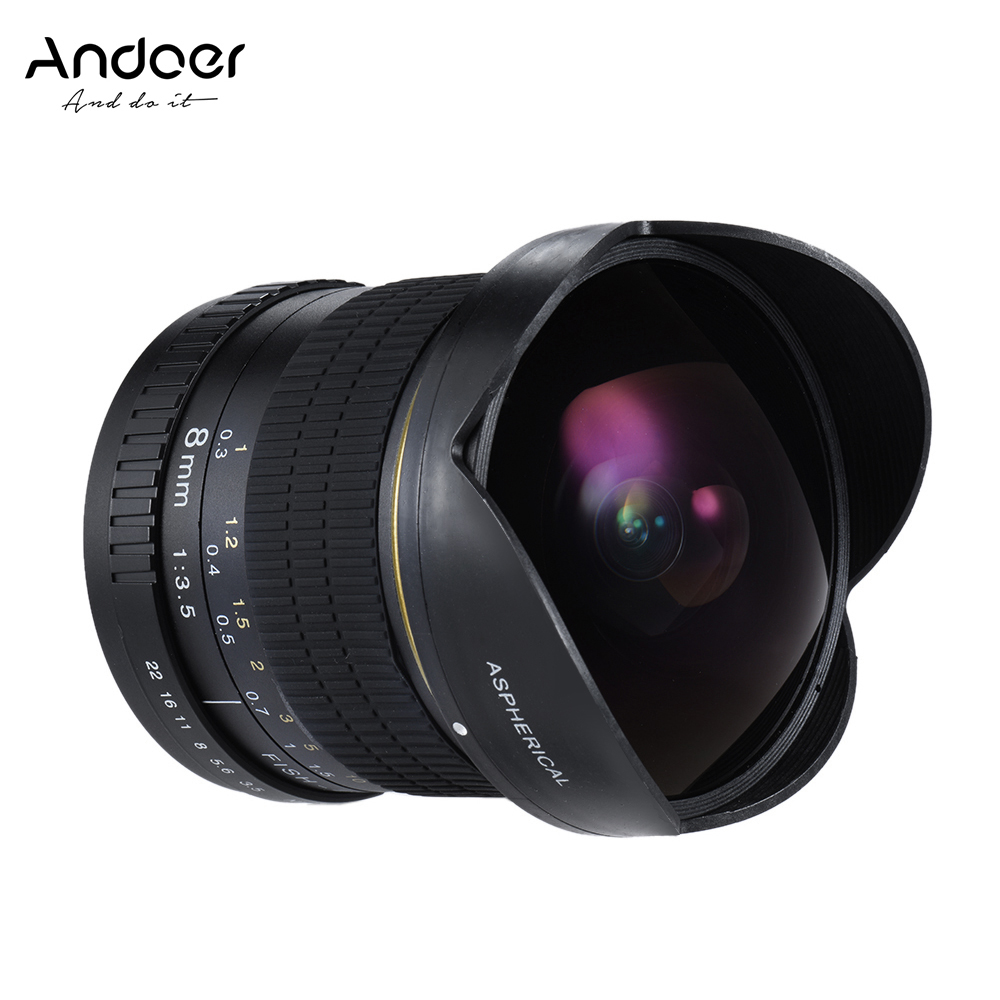andoer 8mm f 3 5 fisheye aspherical circular lens 170 degree ultra wide hd lens for nikon dslr. Black Bedroom Furniture Sets. Home Design Ideas