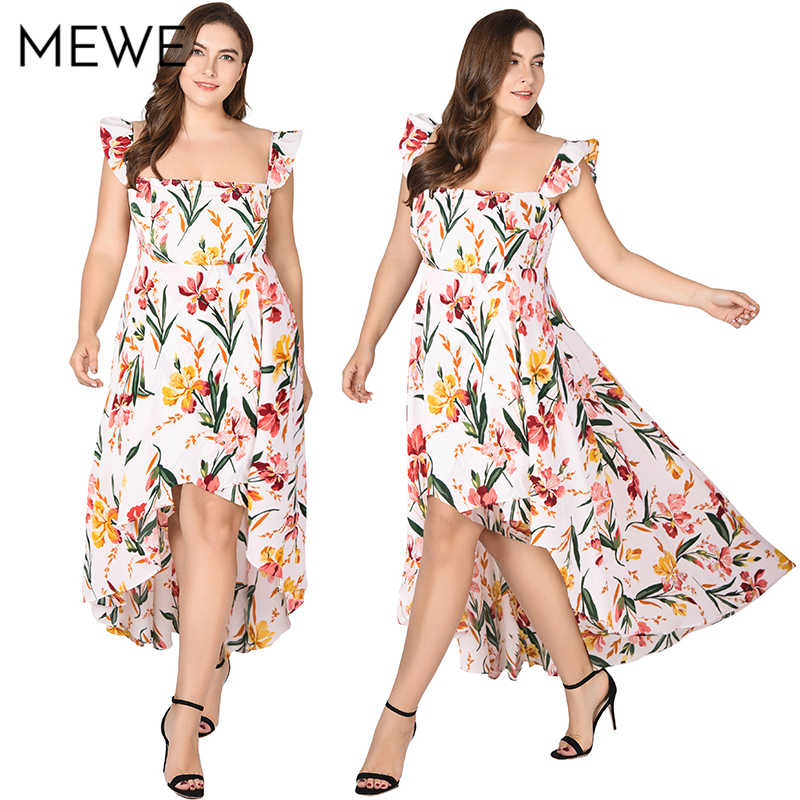 8799c5e3bae ... Women Summer Dress 2018 Boho Beach Long Dress Plus Size 5xl Fashion  Ruffle Maxi White Floral ...
